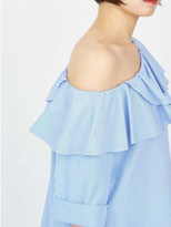 P & Lot Stripe Ruffle One Shoulder Blouse