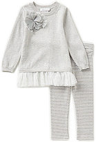 Bonnie Jean Little Girls 2T-6X Flower Applique Sweater Dress and Pants Set