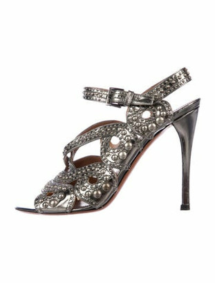 Alaia Leather Cutout Accent Slingback Sandals Silver