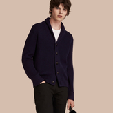 Burberry Shawl Collar Ribbed Wool Silk Cardigan