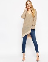 Asos Sweater In Rib With Deep V And Asymmetric Split