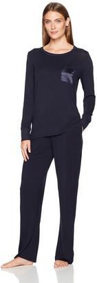 Arabella Women's Long-Sleeve Jersey Pajamas with Satin Pocket
