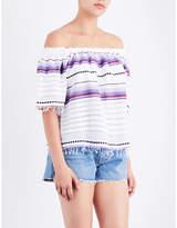 Lemlem Ladies Violet Striped Ultra Light Adia Off-The-Shoulder Cotton-Blend Top