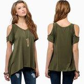 JOLLYCHIC Women's Cold Shoulder V Neck Short Sleeve Flared Tunic Top T Shirt (XL, )