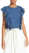 Sea Women's Ruffled Indigo Top