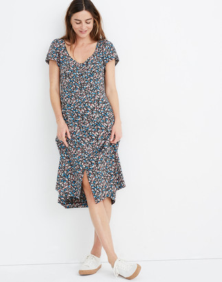 Madewell Puff-Sleeve Button-Front Midi Dress in Spring Prairie