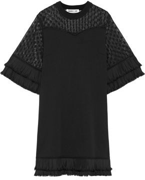 McQ Plisse-trimmed Embroidered Mesh-paneled Cotton Mini Dress