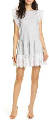 La Vie Rebecca Taylor Agatha Eyelet Detail Cotton Jersey Dress