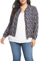 Sejour Plus Size Women's Floral Print Bomber Jacket