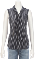 L'Agence Natalia Sleeveless Dot Jacquard Necktie Top