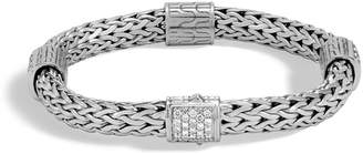 John Hardy Classic Chain Silver Champagne Diamond Medium Four-Station Bracelet with Pusher Clasp