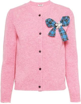 Miu Miu Bow-Detail Wool-Knit Cardigan