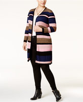 INC International Concepts Plus Size Striped Duster Cardigan, Only at Macy's