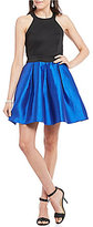 Teeze Me High Neck Color Block Swing Party Dress