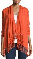 Neiman Marcus Cashmere Open-Front Cardigan, Orange