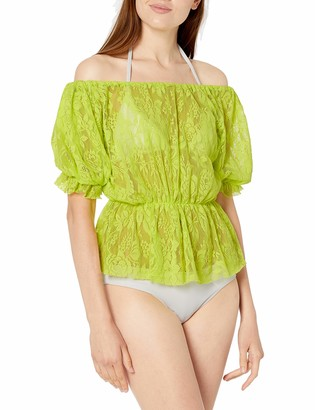 BCBGeneration Women's Off The Shoulder Tie Front Blouse Swimsuit Top and Cover Up