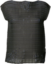 Issey Miyake distressed woven top