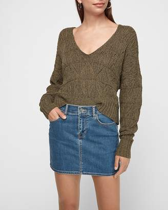 Express Mid Rise Straight Denim Mini Skirt