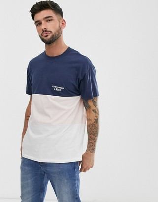 Abercrombie & Fitch color block small logo t-shirt in navy/pink/white-Multi