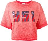 Saint Laurent USA cropped T-shirt - women - Cotton - S