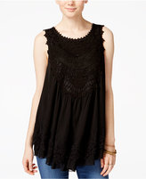American Rag Tiered Crochet-Trim Sleeveless Blouse, Only at Macy's