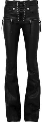 Unravel Project Plonge Lace-up Leather Flared Pants - Black