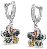 Zales 1/2 CT. T.W. Enhanced Multi-Color Diamond Pinwheel Drop Earrings in Sterling Silver