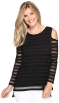 Vince Camuto Long Sleeve Mesh Stripe Cold-Shoulder Top Women's Clothing