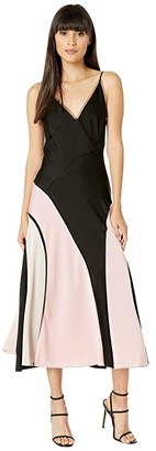 BCBGMAXAZRIA V-Neck Midi Dress (Black) Women's Dress