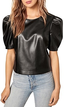 Cupcakes And Cashmere Martine Puff Sleeve Vegan Leather Top