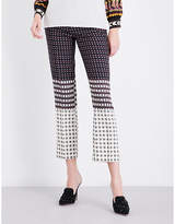 Etro Handkerchief-print high-rise cropped wool-blend trousers