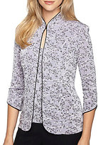 Alex Evenings Petite Printed Mandarin-Neck Twinset