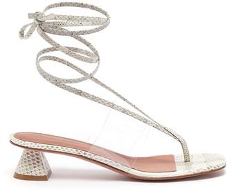 Amina Muaddi Zula clear PVC band strappy snake-embossed leather heeled sandals