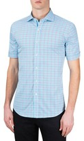 Bugatchi Men's Shaped Fit Check Short Sleeve Sport Shirt