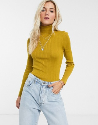 Topshop roll neck jumper in chartreause