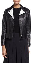 Jason Wu Lambskin Leather Jacket w/ Contrast Facing, Black/Shell White