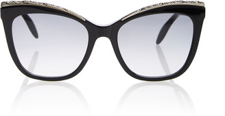 Alexander McQueen Crystal-Embellished Acetate Cat-Eye Sunglasses