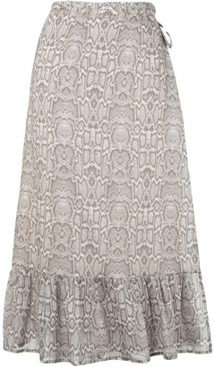 SUBOO Snakeprint Wrap Skirt