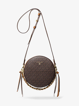 Michael Kors Delancey Medium Two-Tone Logo and Leather Canteen Crossbody Bag