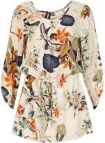 Izabel London Floral Print Shaped Smock Top