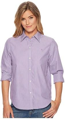Lauren Ralph Lauren Cotton Button Down Shirt (Lavendar/White) Women's T Shirt