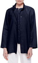 Go Silk Linen Button-Front Jacket, Petite