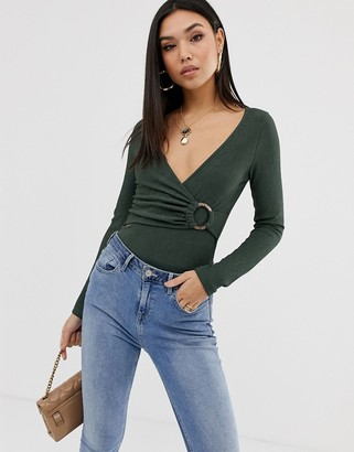 Asos Design DESIGN wrap body in crinkle fabric with ring detail-Green