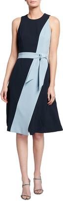Toccin Side Swipe Colorblock Belted Dress
