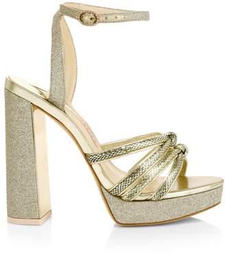 Sophia Webster Glitter Snake-Embossed Leather Ankle Strap Platform Sandals