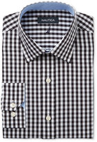 Nautica Men's Classic/Regular Fit Black/White Herringbone Check Dress Shirt