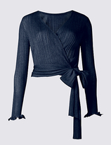 Limited Edition Ribbed Wrap Tie Front V-Neck Cardigan