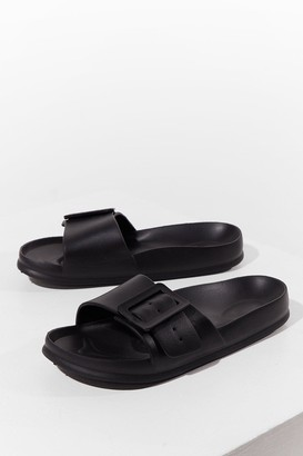 Nasty Gal Womens Find Your Feet Chunky Buckle Sliders - Black - 3