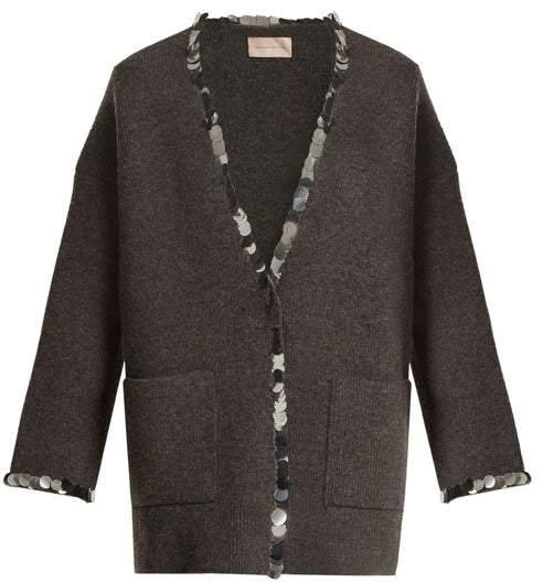 Christopher Kane Sequin Embellished V Neck Wool Blend Knit Cardigan - Womens - Grey