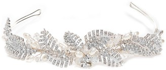 Jon Richard Leah Crystal Pave Leaf And Pearl Tiara